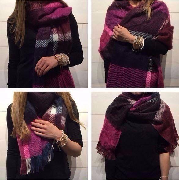 Как носить большие шарфы