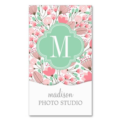 Elegant Modern Floral Pink Mint Professional Business Cards. This is a fully customizable business card and available on several paper types for your needs. You can upload your own image or use the image as is. Just click this template to get started!