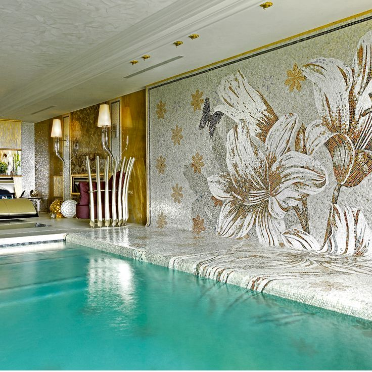 Water and tropical flowers turn nature into pure beauty. See more of our swimming pool mosaic solutions.