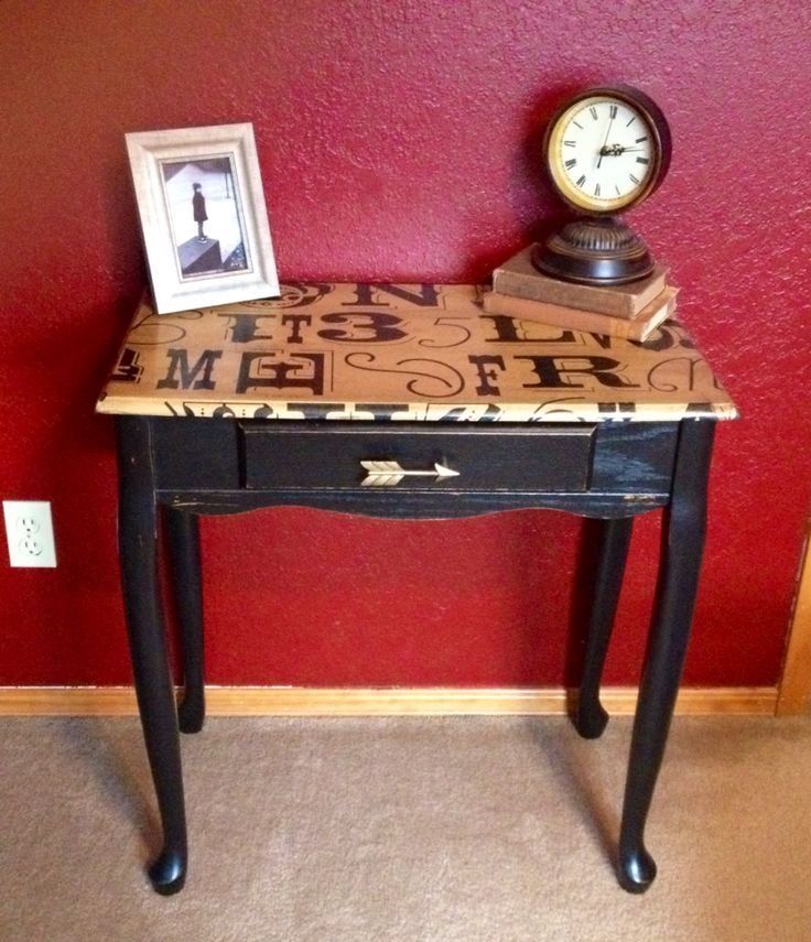 Desk makeover with decoupaged wrapping paper and DIY chalkpaint using Sherwin Williams Tricorn Hat, a color match for ASCP Graphite. finished with a coat of Minwax WoodFinish in Ebony and 2 coats of hand rubbed Poly. #ASCPgraphite #modpodgewrappingpaper #deskmakeover