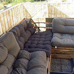 [en.casa] Coussins de palettes- kit de 3 - Rembourrage de siège+ Coussins de dossier[gris foncé] canapé palettes In/Outdoor: Amazon.fr: Cuisine & Maison