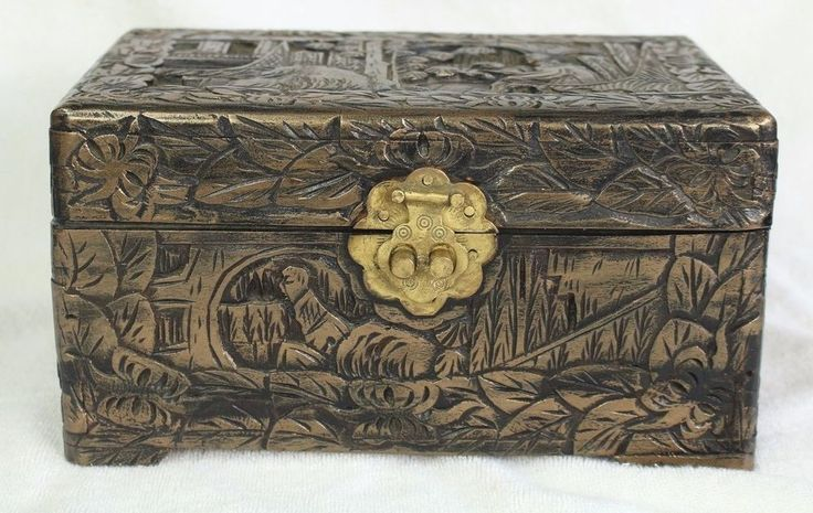 Vintage High Relief Carved Chinese Asian Camphor Wood Wooden Box Chest Brass in Collectibles, Decorative Collectibles, Other Decorative Collectibles | eBay