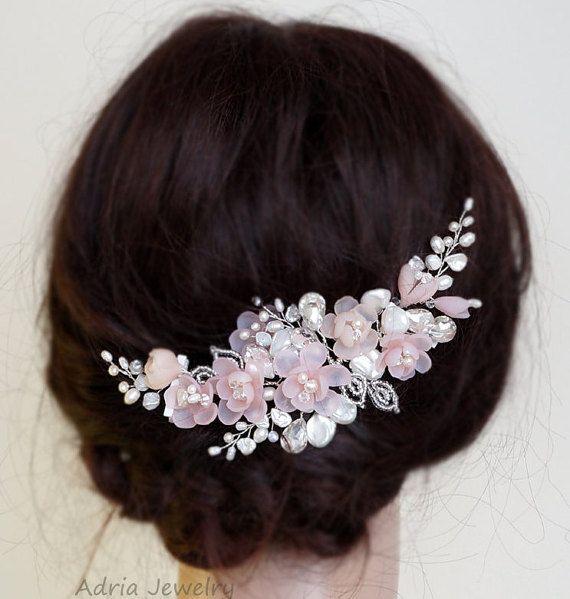Rosa pelo novia pedazo Blush boda jefe pedazo novia de