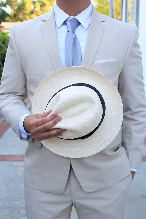 theteenagegentleman: Spring essentials: khaki suit and panama hat. Note the razor thin pocket square.