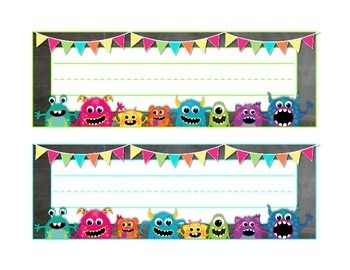 """This pack includes monster/chalkboard large name tags or desk plates for your monster themed classroom! Use them on desks or for labels around the classroom.  This monster name tag comes bordered in 14 different colors with a few variants in the """"monster placement"""".Created by Deanna Roth."""