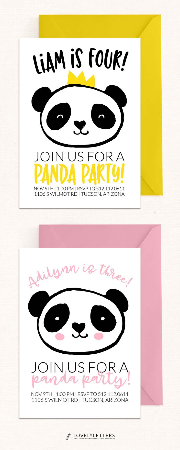 Panda Party Invitation / Panda Birthday Invitation / Panda Invite designed by Lovely Letters Design lovelylettersdesign.com