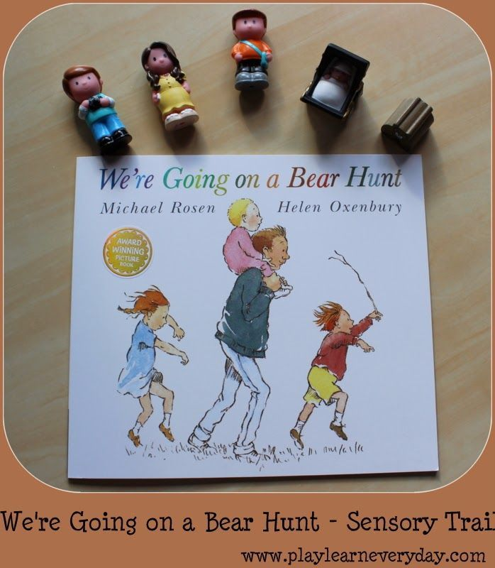 A fun adventure to set up a whole trail following the route of the family in the story of We're Going on a Bear Hunt.