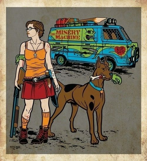 Velma and Scooby-Doo in the Zombie Apocalypse.
