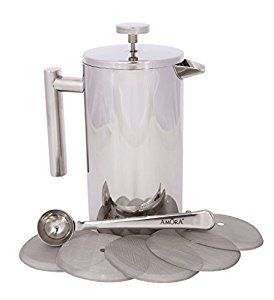 https://www.amazon.com/dp/B01K1WNKP8  Amora 8-cup Stainless Steel French Press Coffee Maker - FREE Coffee Spoon & 5 Mesh Filters