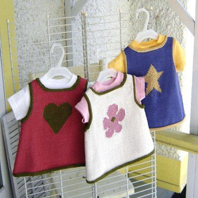 Amaddy babyknitting pattern for three sweet baby tops.A simple intarsia motif decorates each one with a star, a flower, or a heart for the one who has stolen yours.This pattern makes an easy-fitting topper to layer over a t-shirt or leggings. With shaped armholes and a generous neck opening, it is an easy garment to slip on and off.I-cord edging makes for a neat finish on the armhole, neck, and lower edges.The knitting pattern, written in both US and metric measurements, includes color…