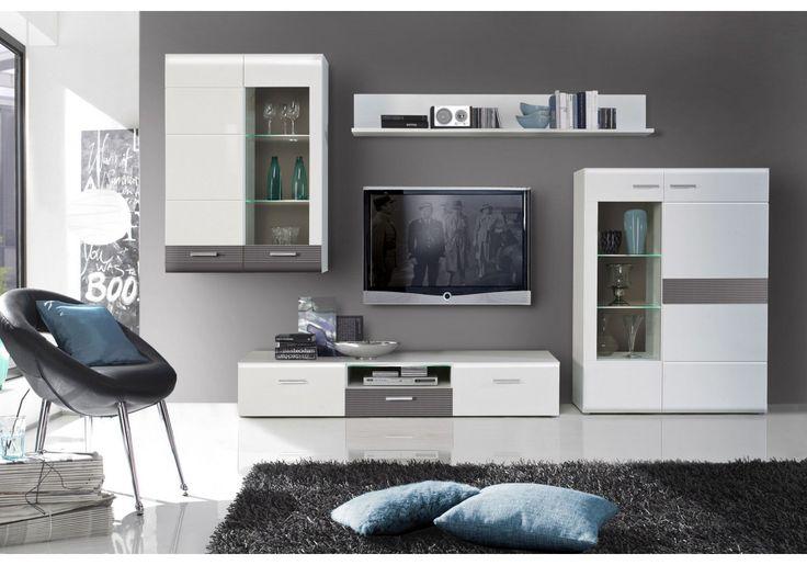 Billig wohnwand weiß grau