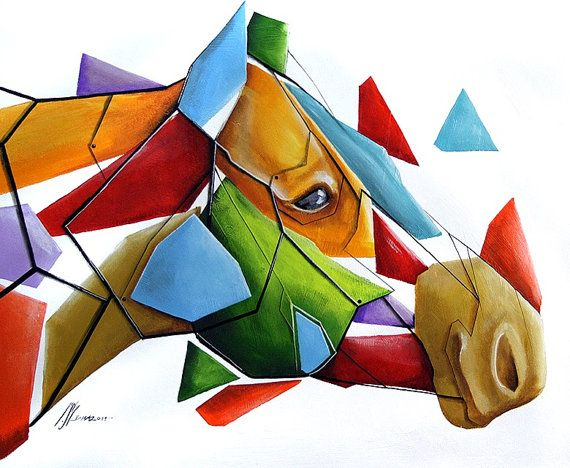 Geometric horse 50x40 by SztuknijSie on Etsy