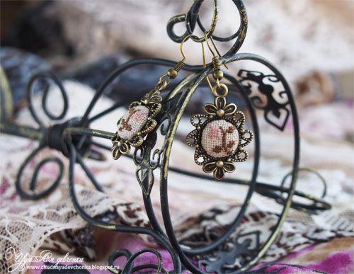 "Серьги ""Забытые узоры"". Earrings cross stitch."