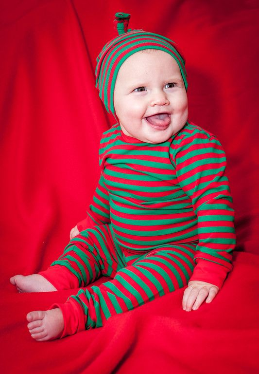 Tegan modeling our new Christmas set - Teegy Jamies and a matching Wee Willie Winky knot hat!