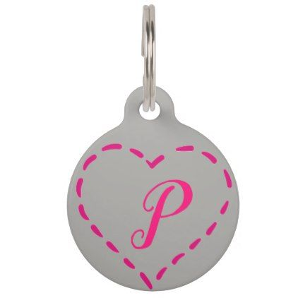 Monogram Pink Heart Custom Pet Tag - home gifts ideas decor special unique custom individual customized individualized