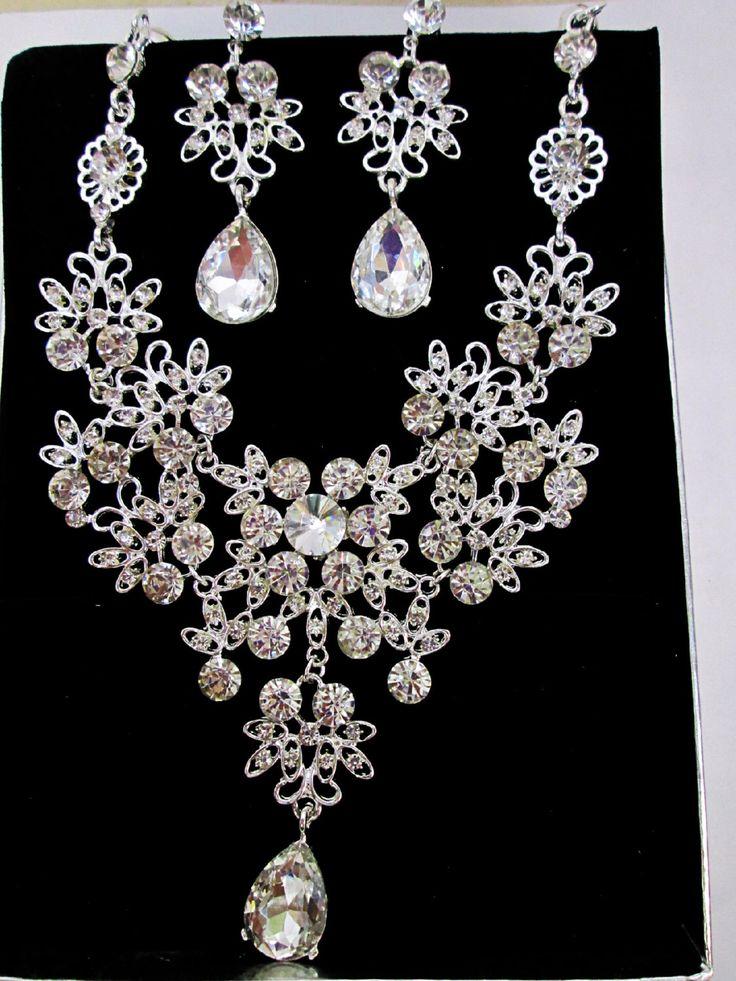 A personal favorite from my Etsy shop https://www.etsy.com/ca/listing/470063140/bridal-crystal-jewelry-set-bridal-bib