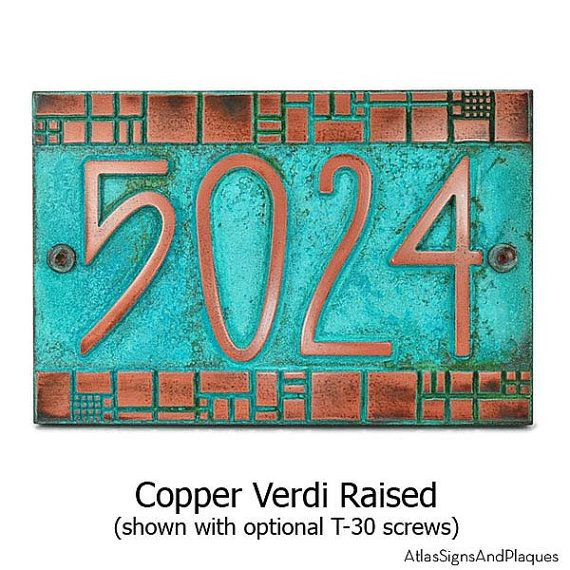 """Batchelder Tile Craftsman Address Plaque Numbers 12"""" W x 8"""" H by Atlas Signs and Plaques"""