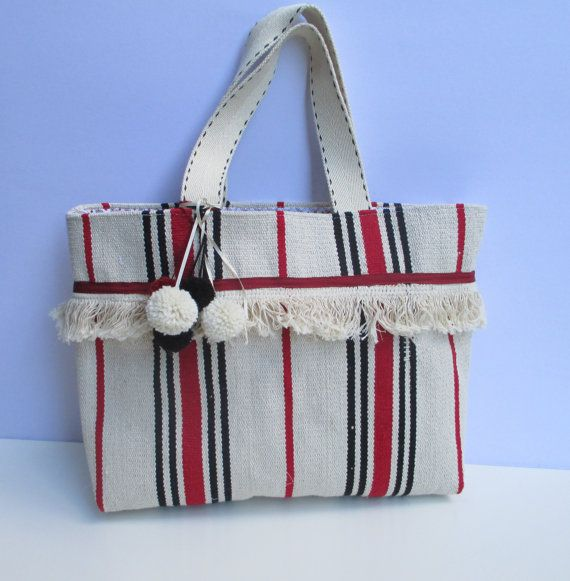 Carpet bag woven handmade bag farmers' market bagbeach by Apopsis