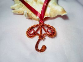 Wire wrapping umbrella pendant by Mirtus63