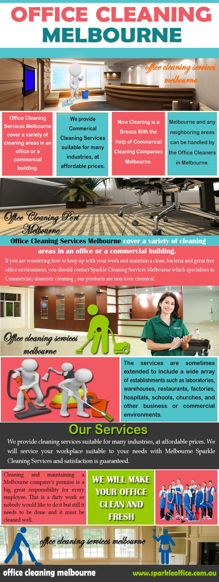 Check this link right here http://www.sparkleoffice.com.au/ for more information on Office Cleaning Melbourne. Professional Office Cleaning Melbourne services can keep your office looking clean, tidy, and sparkling. Follow us http://go.favecentral.com/11490040