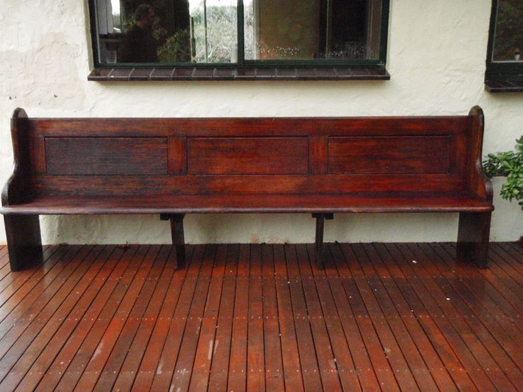 antique vintage solid wood church pew bench seat extra long - Church Pew