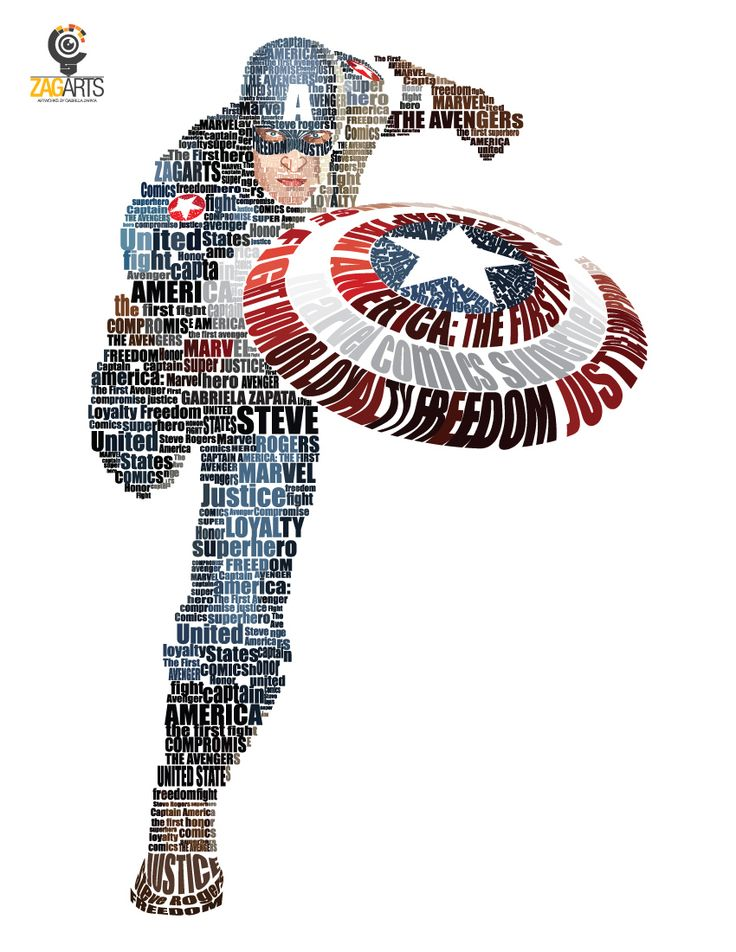 The First Avenger by ~ZAGarts What is exceptional about this typography fan art of Captain America is that the colors aint just a layer mask or easy effect. EVERY word has been adjusted for that color, this must've taken forever to make! It is incredible and beautiful. Well done