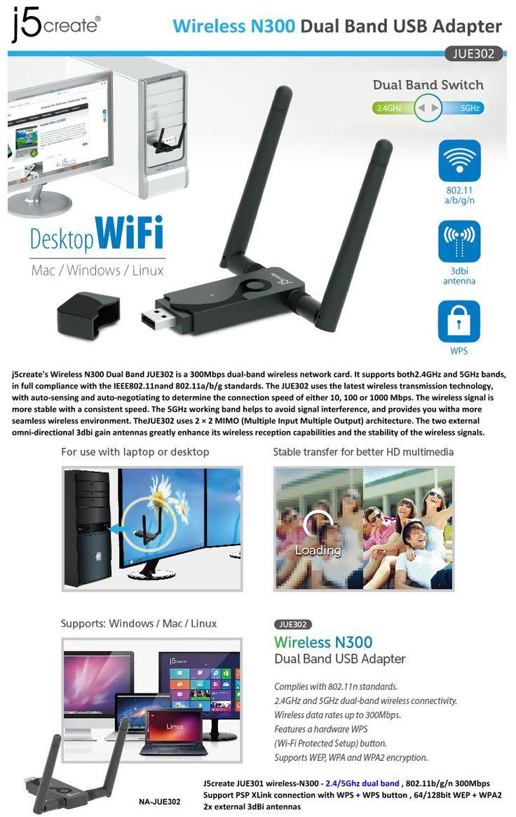 Wireless N300 Dual Band USB Adapter