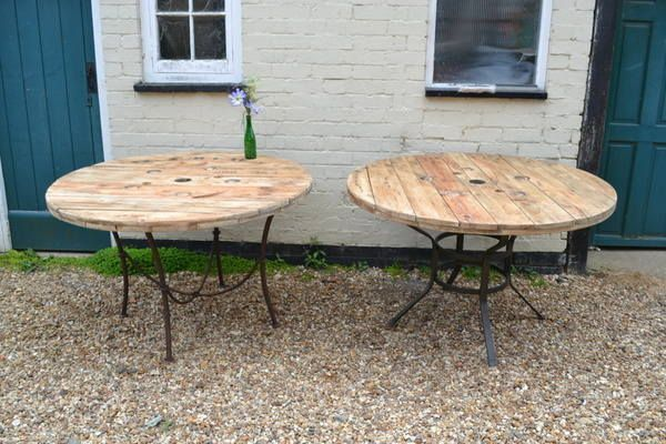 wooden spool dining table  | Pair of large reclaimed cable reel dining tables redo unwanted patio tables, add an umbrella.