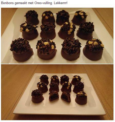 Bonbons van romige melkchocolade met een vulling van Oreo's en roomkaas.