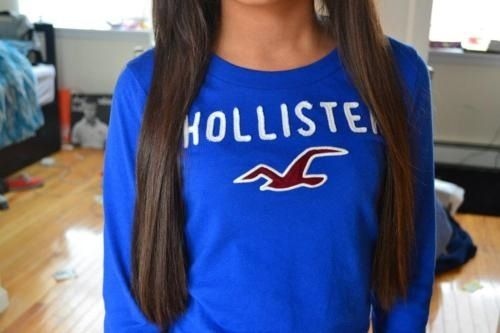 hollister shirt and long brown hair<3