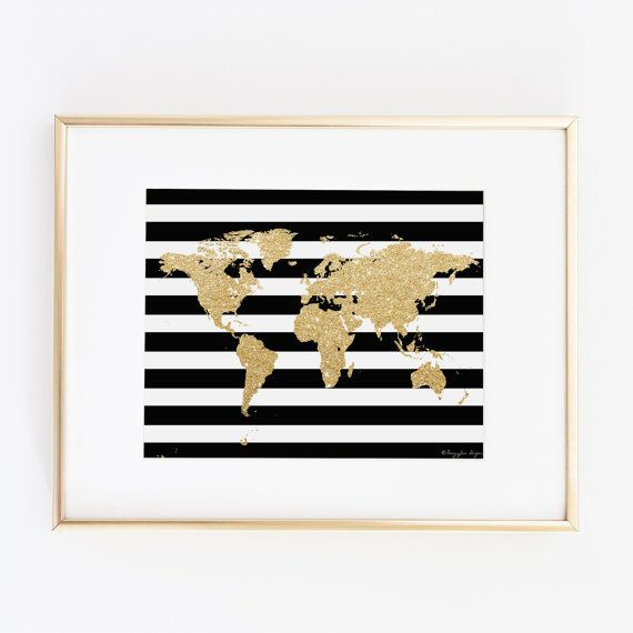Gold World Map Digital Printable Art | Instant Download Print for Wall Decor | DIY | Nursery Decoration or Gift | Valentines