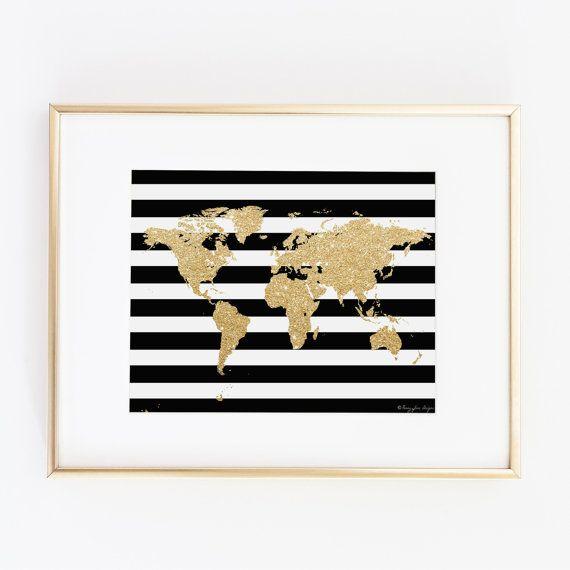 Gold World Map Digital Art Printable Art by PennyJaneDesign