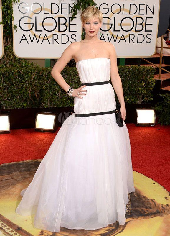 Vestido de Premios Globo de Oro de organza blanca sin tirantes - Milanoo.com