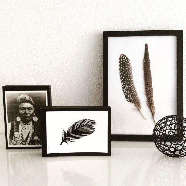Zelf ingelijste veren en postkaart met een nativeamerican en een veer. Black White Feathers zwart wit