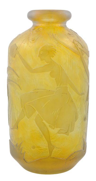 A Duam et Nancy ~ Late Art Nouveau cast and etched yellow vase ~ France ~1920