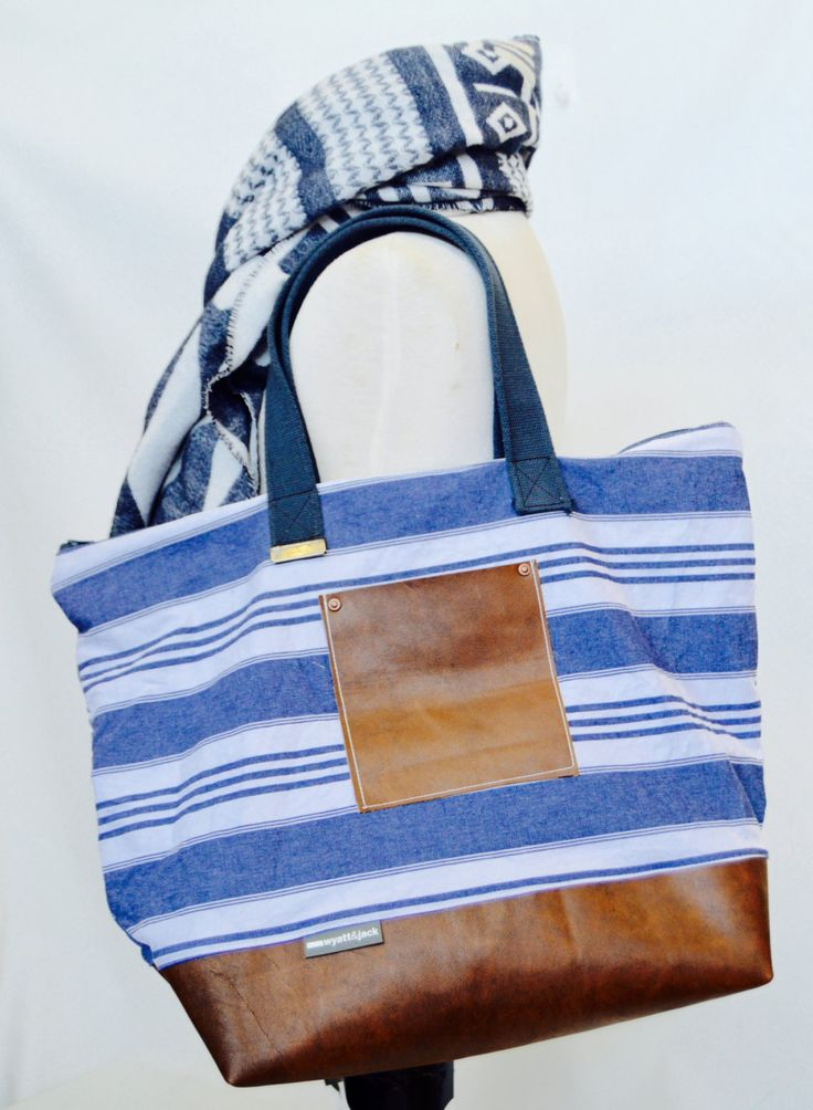 Recycled Blue and White Stripy Canvas and Upcycled  Leather Weekend Holdall / Overnight Travel Bag by wyattandjack on Etsy