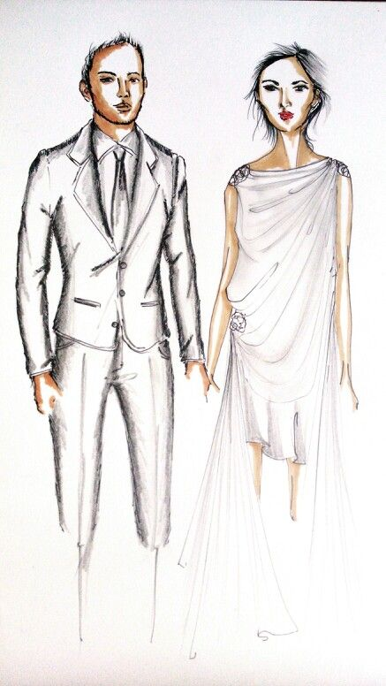 Cute couple #fashionillustration #wedding #couple