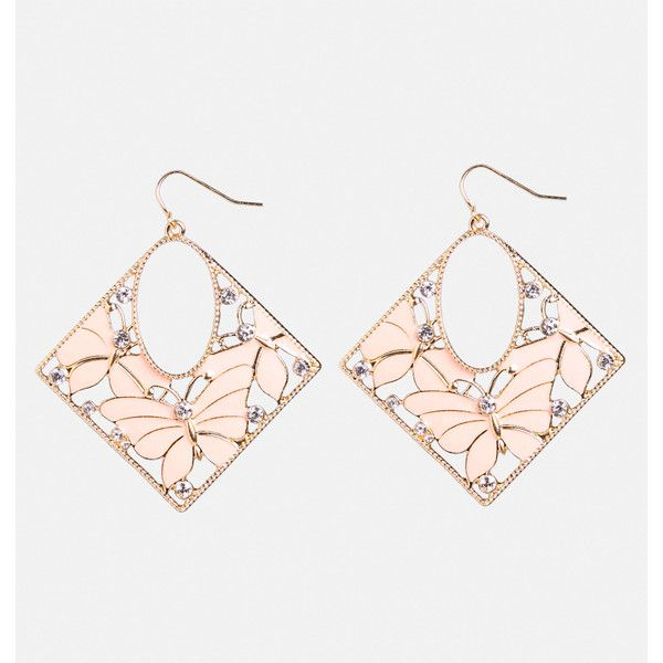 Avenue Butterfly Diamond Earring ($10) ❤ liked on Polyvore featuring jewelry, earrings, pink, plus size, pink diamond jewelry, diamond jewellery, hook earrings, butterfly earrings and pink earrings