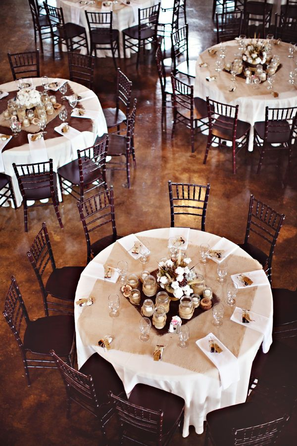 square burlap runners on round tables.. definitely need the inspiration for them!