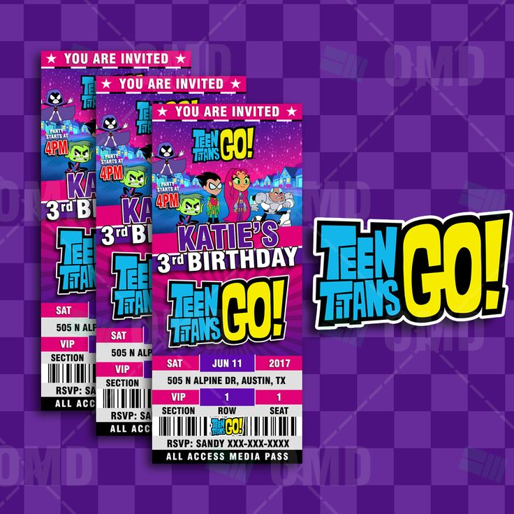 Teen Titans Go Ticket Style Birthday-5478