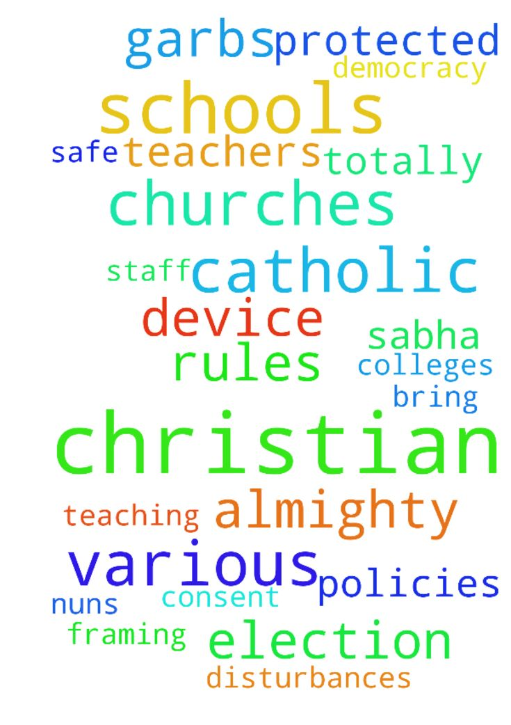 For all catholic and Christian churches and schools - For all catholic and Christian churches and schools in Goa and all over India are protected from all hinduvta fanatics insanity of newly political set up devising various methods of disturbances, framing policies beginning with our Christian schools under various garbs introducing yoga and deities, swapping teachers, sirs and principals and teaching staff with the ultimate goal to totally phase out catholic and Christian schools…