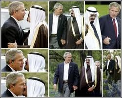 Interview mentions picture during interview / hugging & kissing -- scroll through commerials but worth listening to. http://www.israelnationalnews.com/Radio/Player.aspx#0#4522 George Bush and Saudi King.
