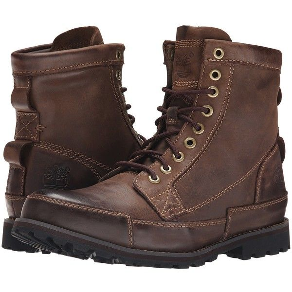 Timberland Earthkeepers Rugged Original Leather 6 Boot (Dark Brown)... ($150) ❤ liked on Polyvore featuring men's fashion, men's shoes, men's boots, timberland mens shoes, mens lace up boots, mens dark brown chelsea boots, mens shoes and mens boots