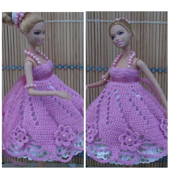 Свяжем платье кукле. Knit dress the doll. Knit Kleid der Puppe.