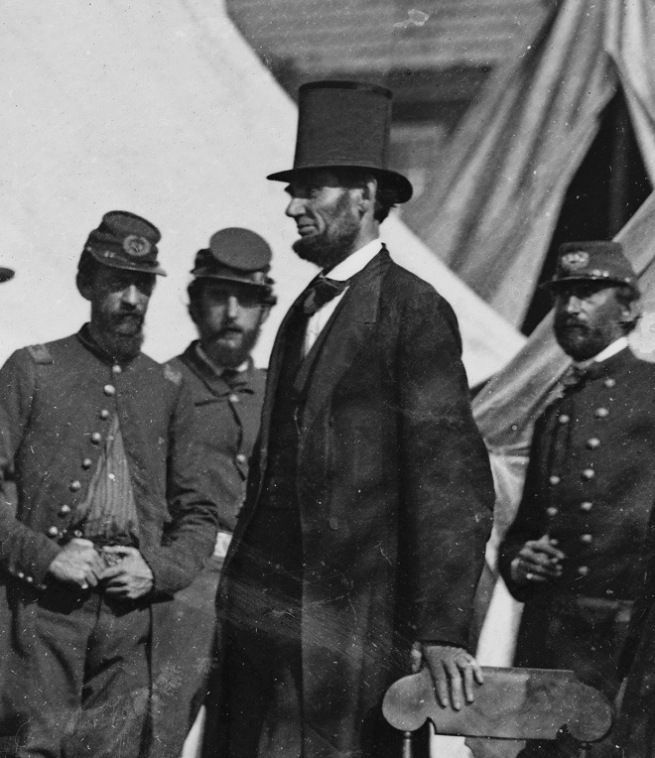 .  Alexander Gardner(1821-1882) [Antietam, Md. President Lincoln with Gen. George B. McClellan and group of officers] (detail) 3rd October 1862