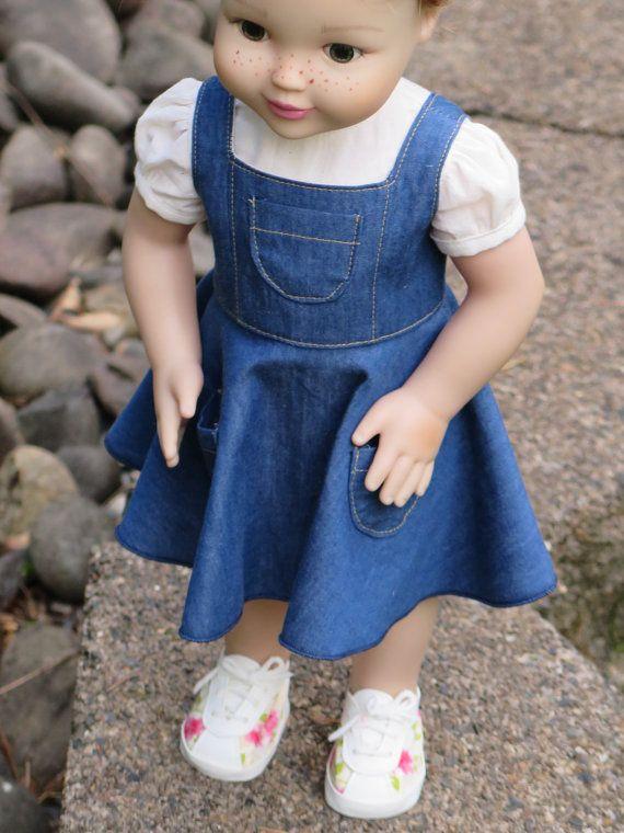 18 Inch Doll Denim Dress & Blouse American by RainbowLilyDesigns