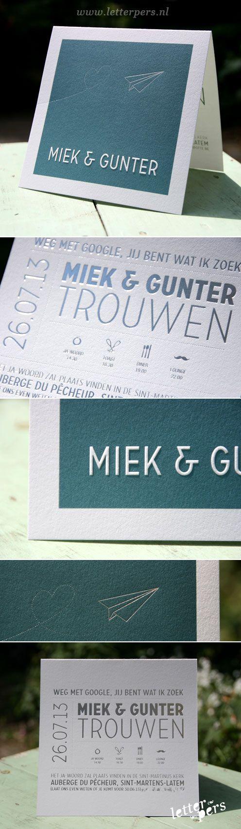 letterpers_letterpress_Miek_Gunter_Wedding_card_trouwkaart_foliedruk_vliegtuigje_symbolen