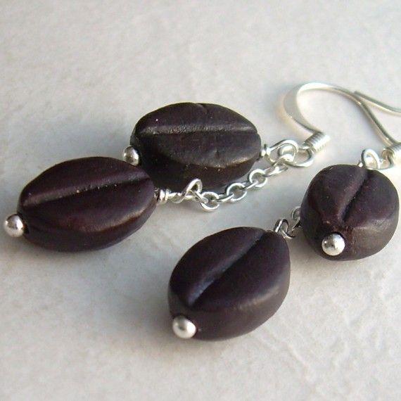Coffee Bean Earrings, Espresso Brown Ceramic Beads $16