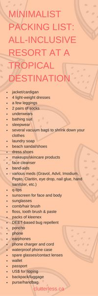 minimalist packing list: tropical destinations