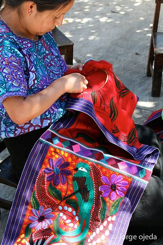 Hand embroidered beautiful textiles from Mexico